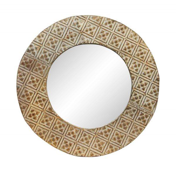 Floral Round Tan Antique Tin Mirror - Antique Tin Mirrors