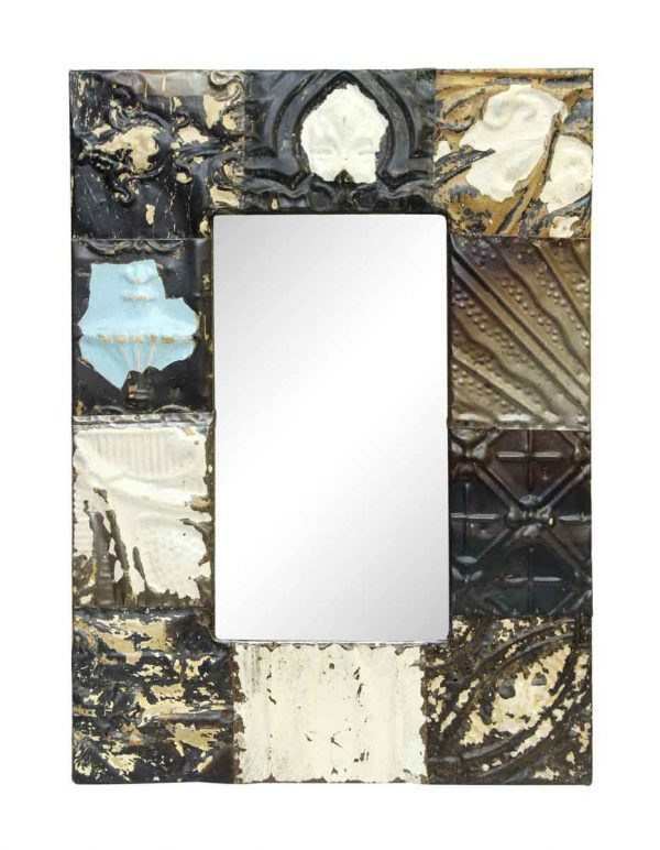 Neutral Mixed Pattern Antique Tin Mirror - Antique Tin Mirrors