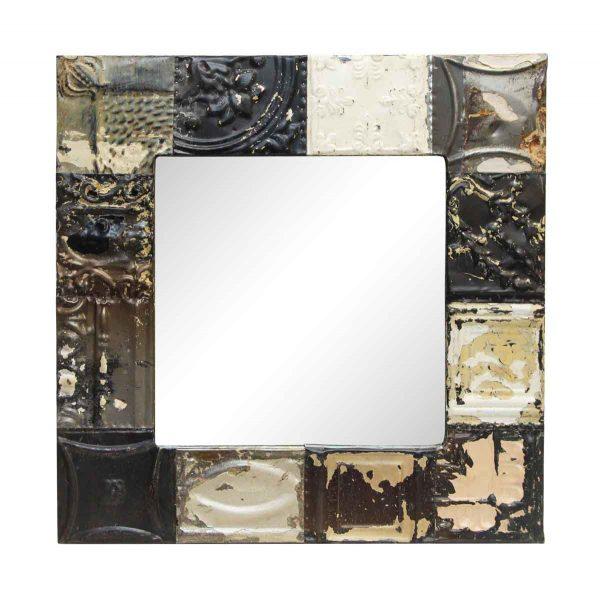 Square Mixed Style Antique Tin Panel Mirror - Antique Tin Mirrors