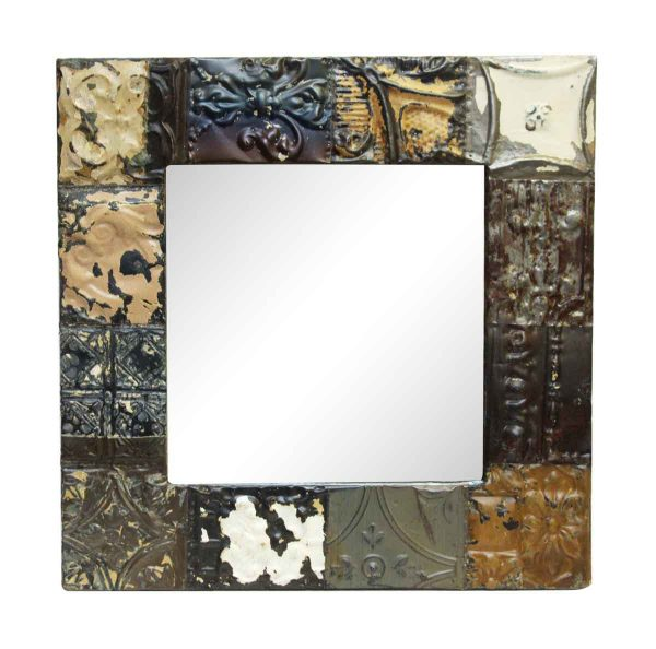 Mixed Style Square Neutral Antique Tin Mirror - Antique Tin Mirrors