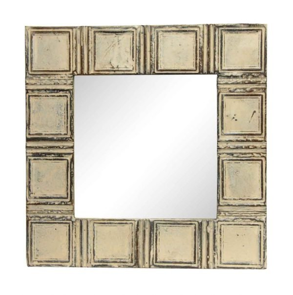 Tan Squares Style Antique Tin Mirror - Antique Tin Mirrors