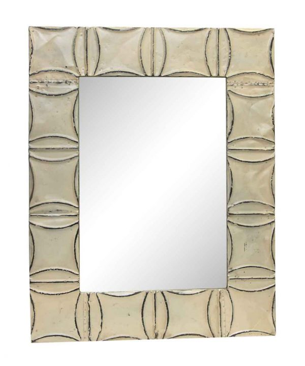 White Arched Squares Antique Tin Mirror - Antique Tin Mirrors
