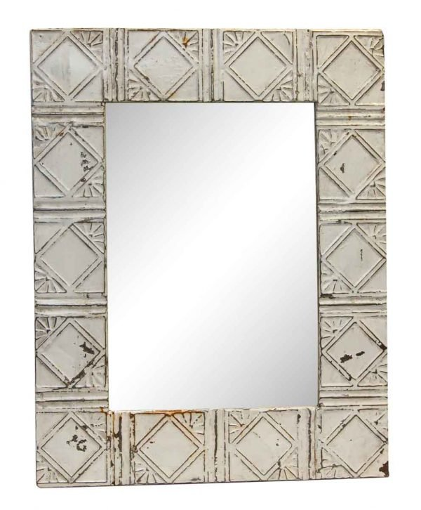 White Art Deco Pattern Antique Tin Mirror - Antique Tin Mirrors