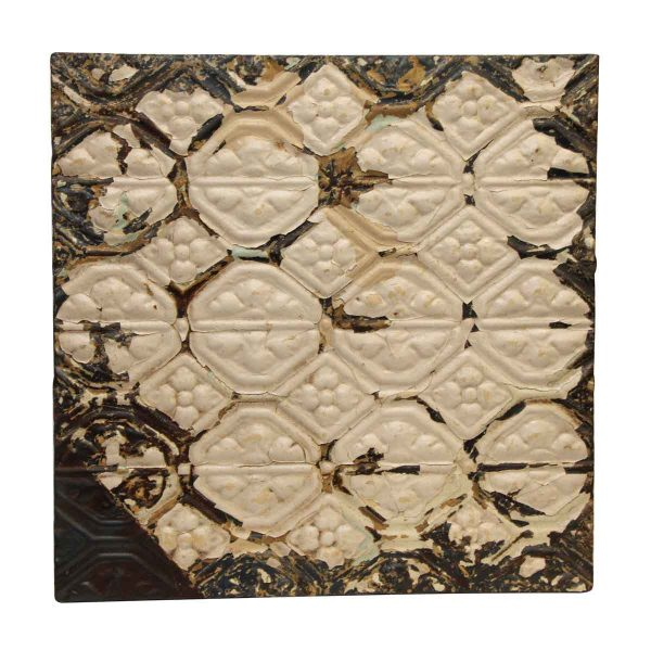 Floral Pattern Distressed Antique Tin Panel - Tin Panels