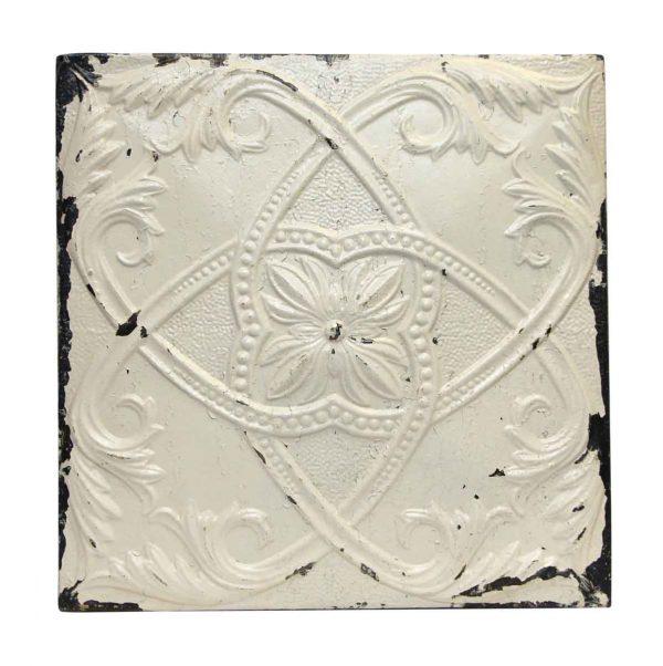 White Center Flower Antique Tin Panel - Tin Panels