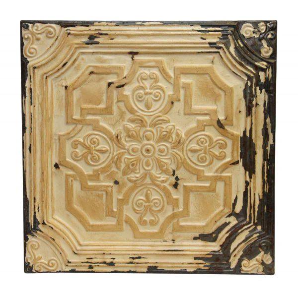 Tan Geometric Floral Antique Tin Panel - Tin Panels