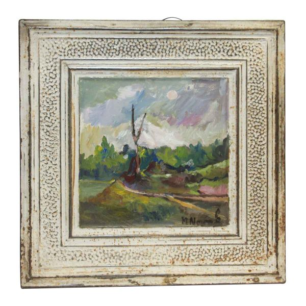 White Scenic Hand Painted Antique Tin Panel - Hand Painted Panels