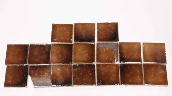 Set of 17 Brown Square Ceramic Tiles - Wall Tiles