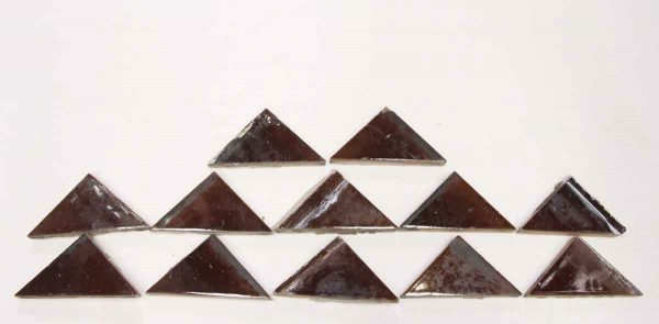 Set of 12 Brown Triangle Glazed Ceramic Tiles - Wall Tiles