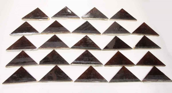 Set of 24 Brown Triangle Glazed Ceramic Tiles - Wall Tiles