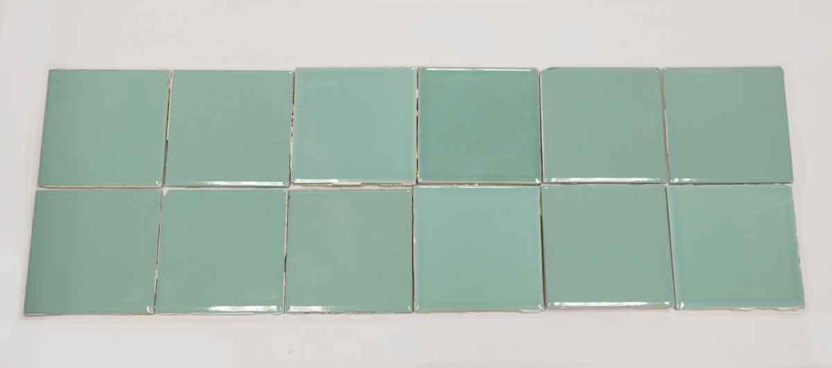 Set Of 12 Green Glazed Ceramic Tiles Olde Good Things