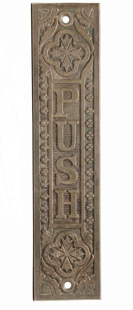 Push Plates - Victorian Bronze Door Push Plate