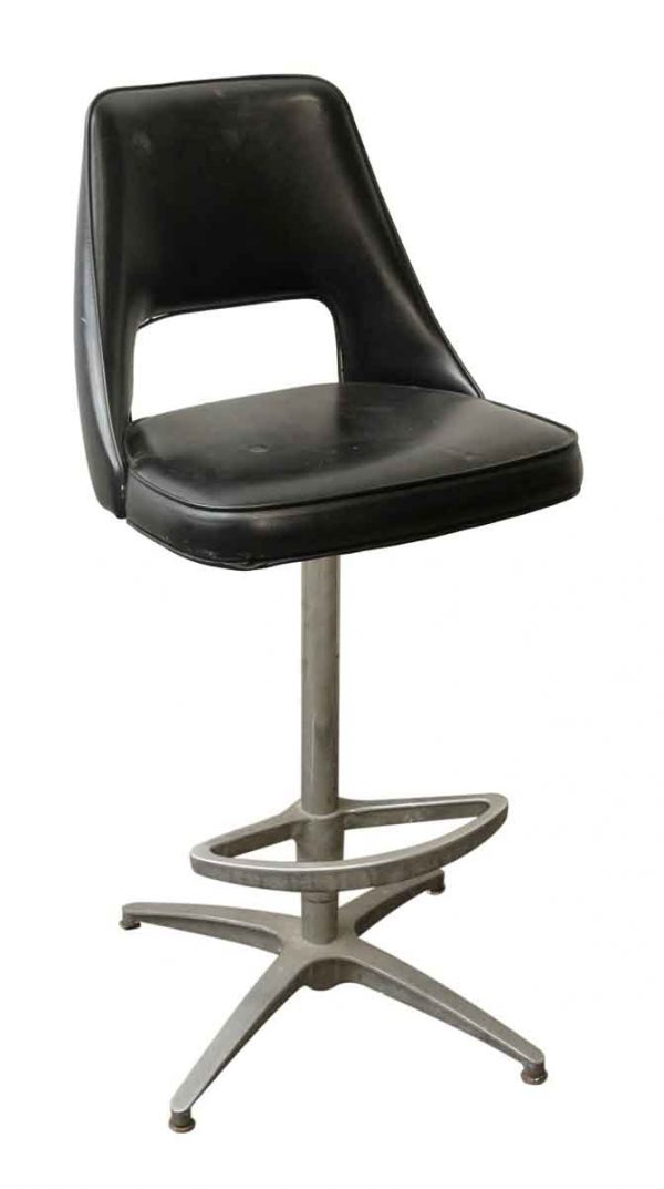 Seating - Black Retro Chair with Footrest