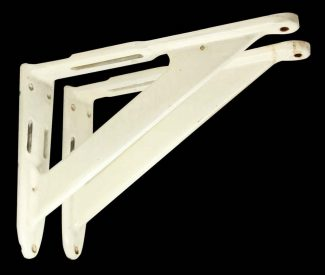 pair of vintage iron u0026 enamel white shelf brackets