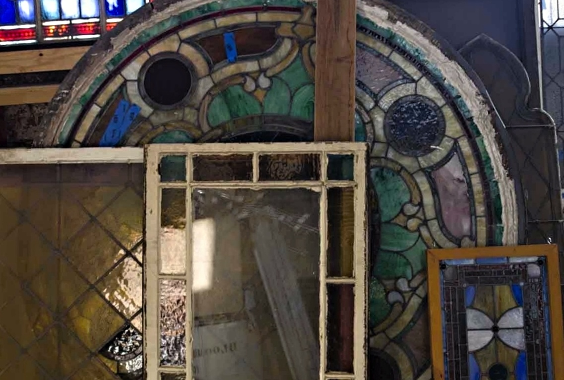 Wall Of Antique Stained Glass Windows In Scranton Pa National Warehouse 01