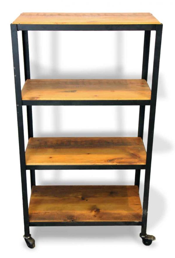 Altered Antiques - Handcrafted Reclaimed Pine Wood & Steel Rolling Shelf Cart