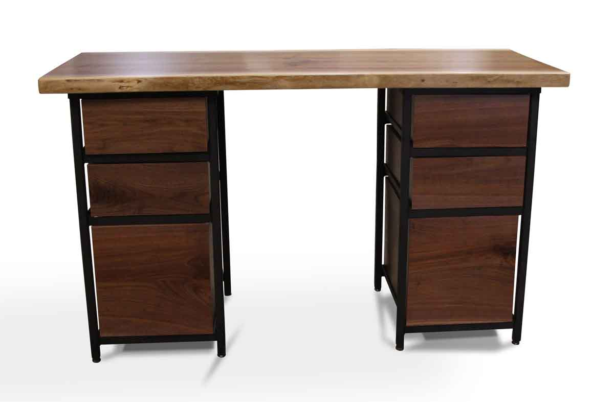 Altered Antiques Handmade Live Edge Walnut Desk With Storage Drawers