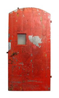 Salvaged Old Red Arched Fire Door
