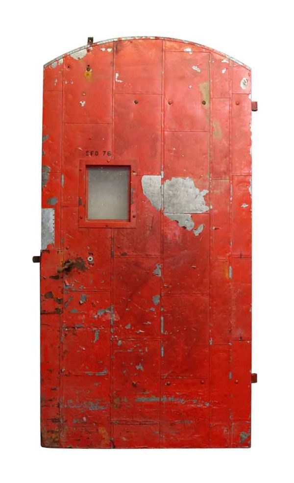 Arched Doors - Salvaged Old Red Arched Fire Door