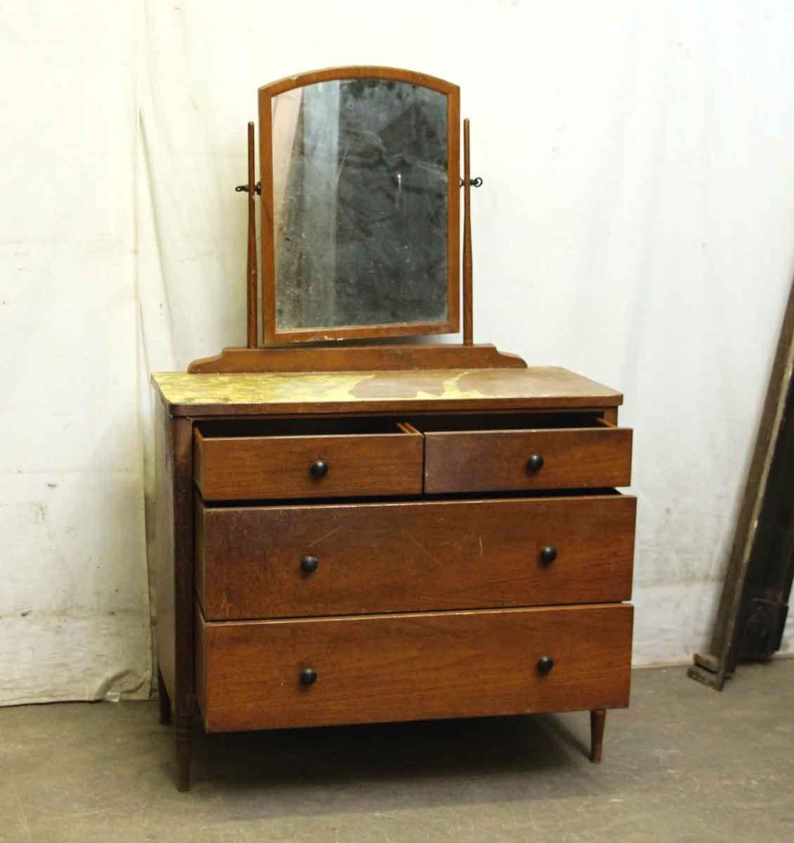Vintage Metal Dresser With Wood Veneer Olde Good Things