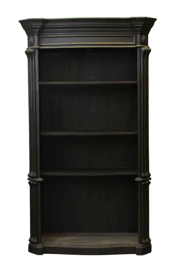 Bookcases - Large Victorian Black Wooden Bookcase