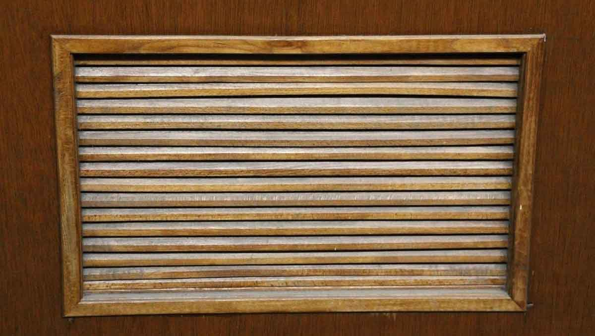 Old wooden door with small louvered panel olde good things for Small doors for sale