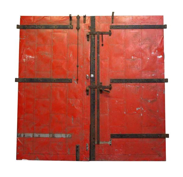 Commercial Doors - Old Kiromac Mfg. Co. Metal Red Fire Double Doors