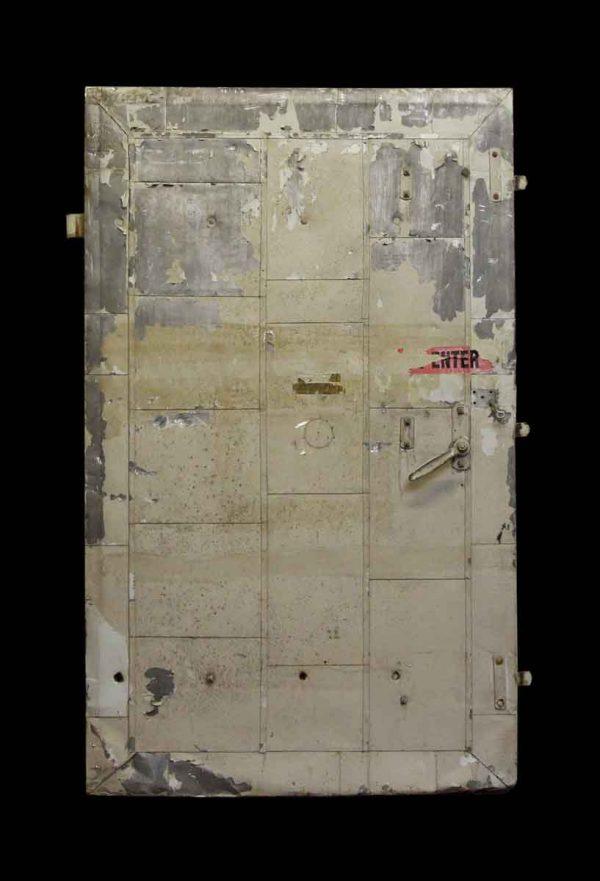 Commercial Doors - Old Reclaimed Wide Gray Metal Fire Door