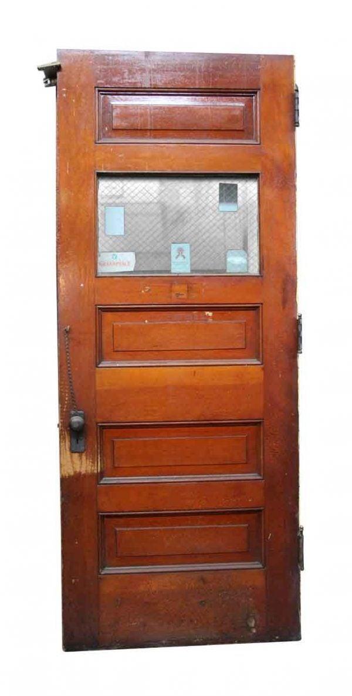 Commercial Doors - Salvaged Wooden Door with Glass Panel