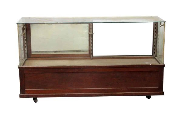 Commercial Furniture - Vintage Wooden Glass Front Showcase on Wheels