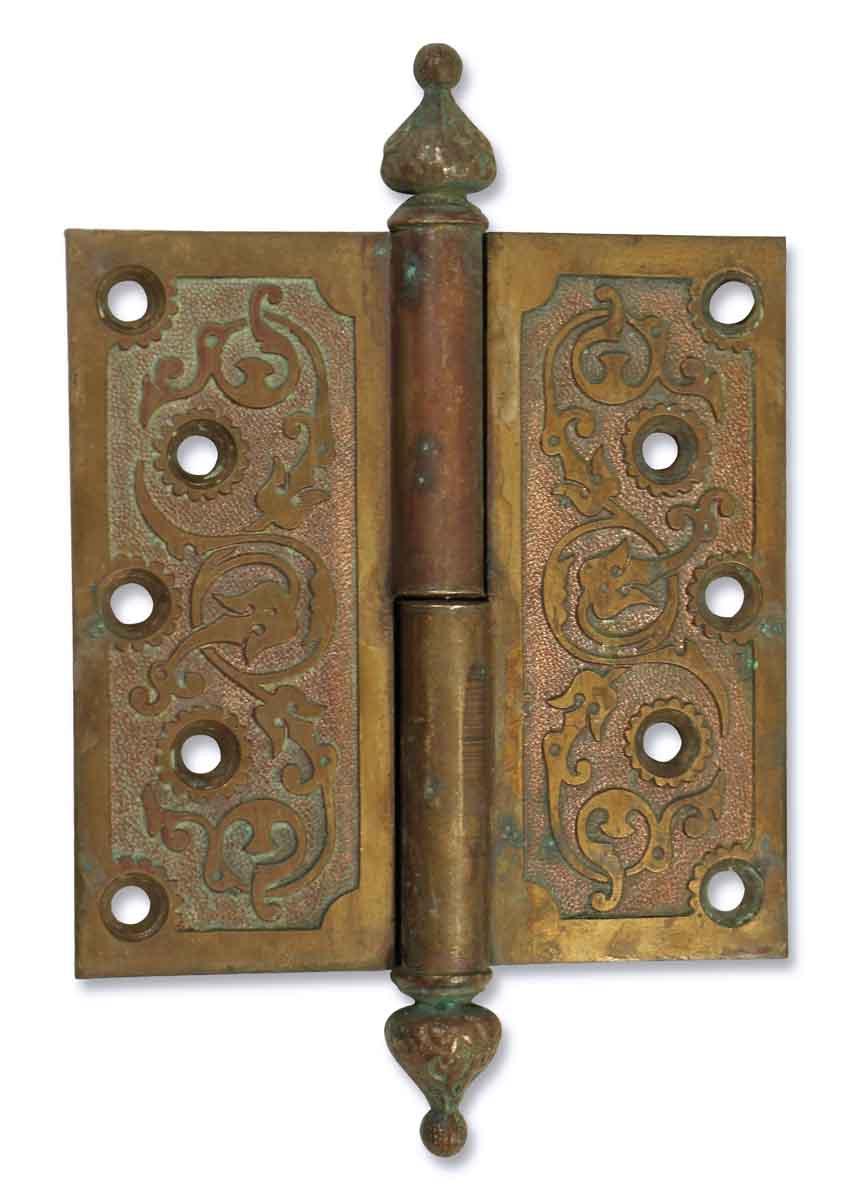 Door Hinges - Antique Ornate Hinge with Steeple Tips - Antique Ornate Hinge With Steeple Tips Olde Good Things