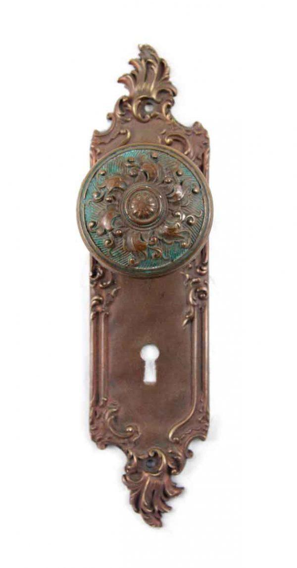 Door Knob Sets - Antique Art Nouveau Brass Interior Door Knob Set