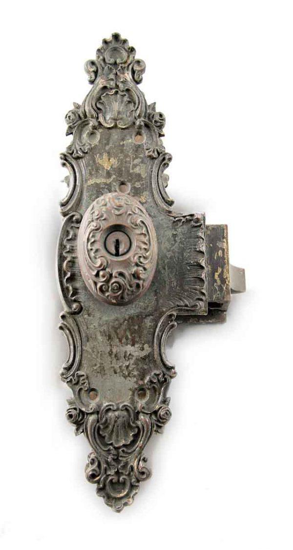 Door Knob Sets - Antique Art Nouveau Door Knob Monolock Entry Set