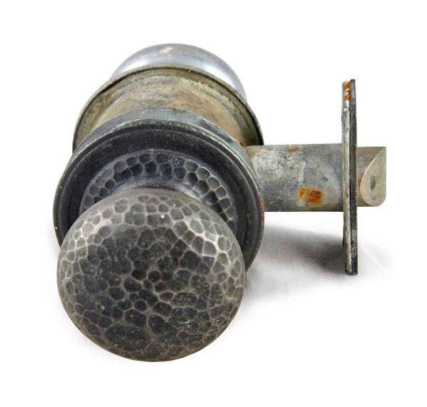 Door Knob Sets - Antique Arts & Crafts Hammered Nickeled Door Knob Set