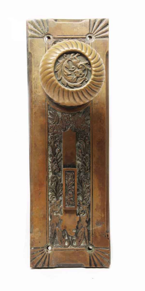 Door Knob Sets - Antique Corbin Empire Bronze Knob & Plate Set