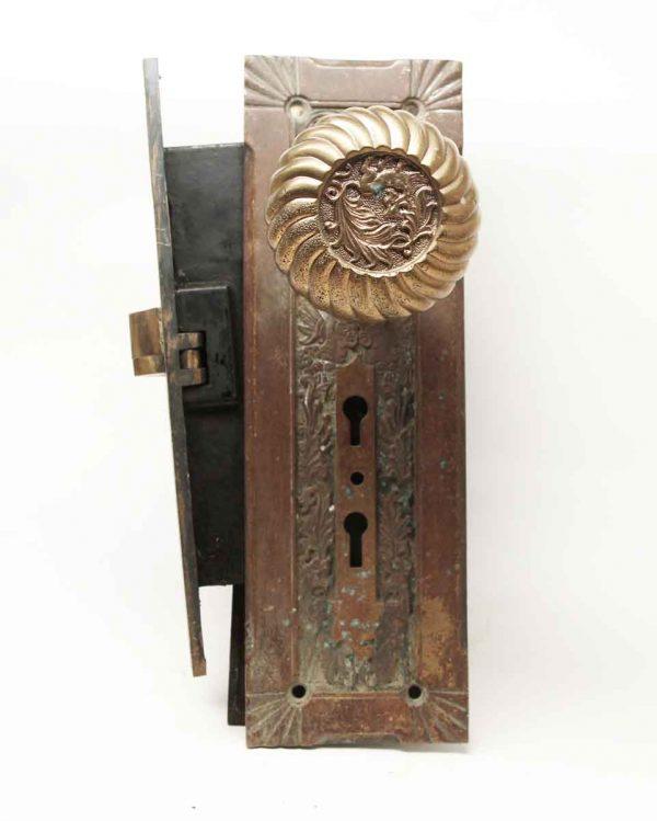 Door Knob Sets - Antique Corbin Fanciful Beast Bronze Door Set