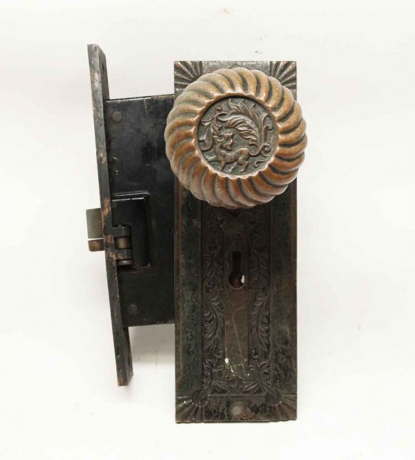 Door Knob Sets - Antique Corbin Fanciful Beast Bronze Knob & Lock Set