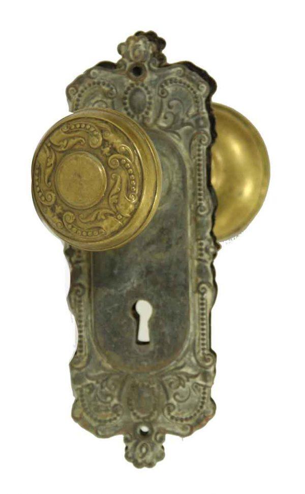 Door Knob Sets - Antique Corbin Flemish Brass Door Knob Set