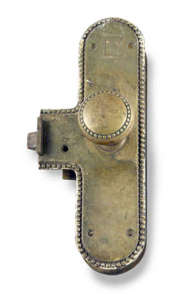 Door Knob Sets - Antique Exterior Bronze Beaded Door Knob Monolock Set