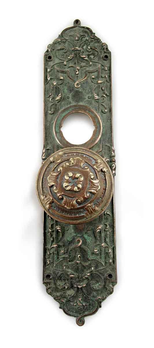 Door Knob Sets - Antique Reading Brass Entry Knob Door Set