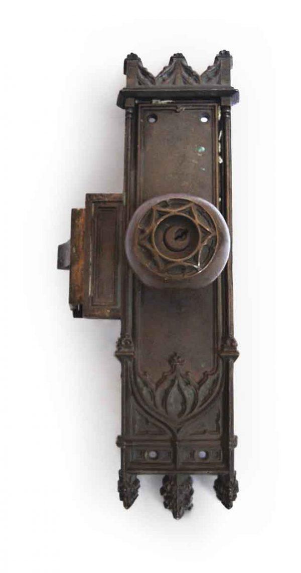 Door Knob Sets - Antique Russwin Gothic Entry Door Knob Monolock Set