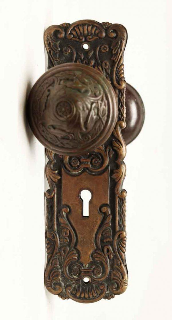 Door Knob Sets - Antique Sargent Brass Knob Set with Plates