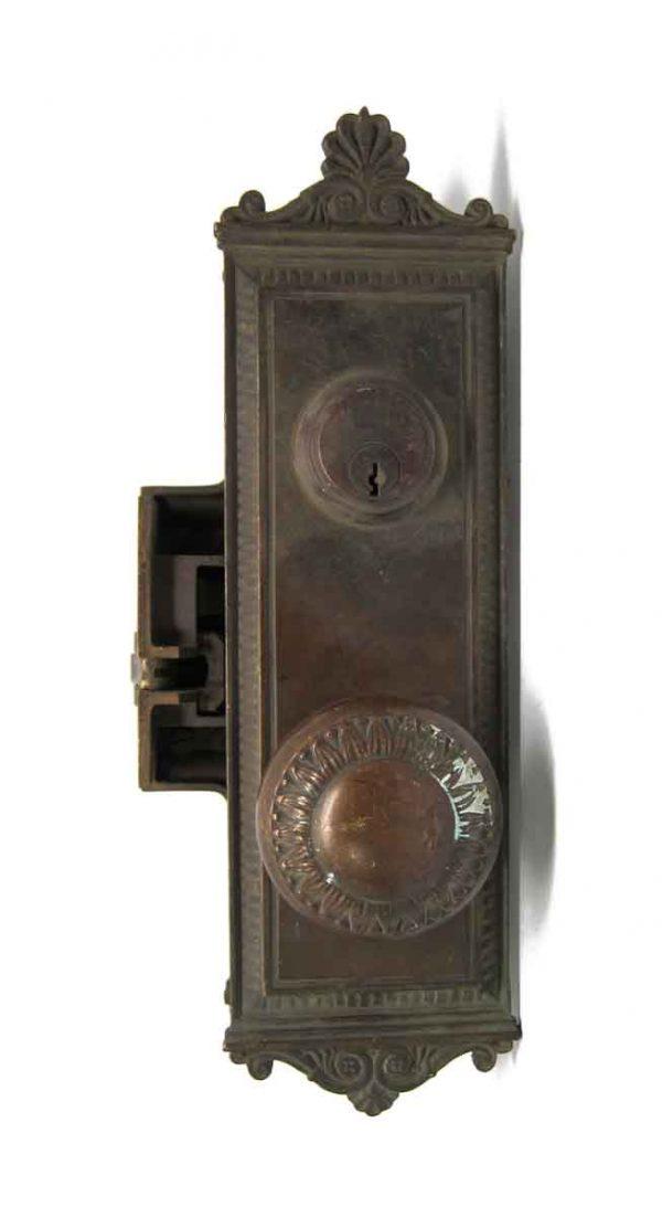 Door Knob Sets - Antique Yale & Towne Greek Bronze Entry Monolock Door Set