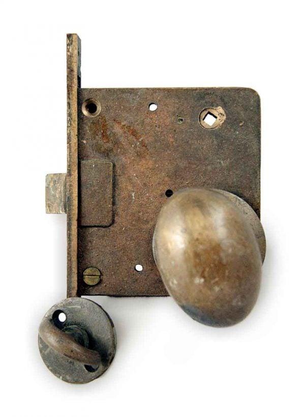 Door Knob Sets - Cast Bronze Oval Door knob Entry Lock Set