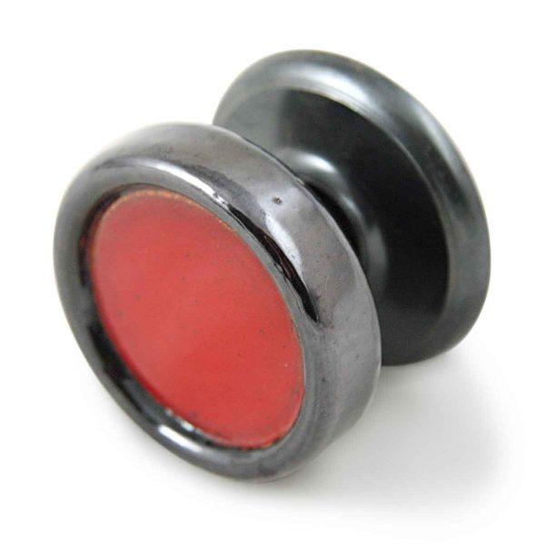 Door Knob Sets - Mid Century Round Red Enamel Door Knob