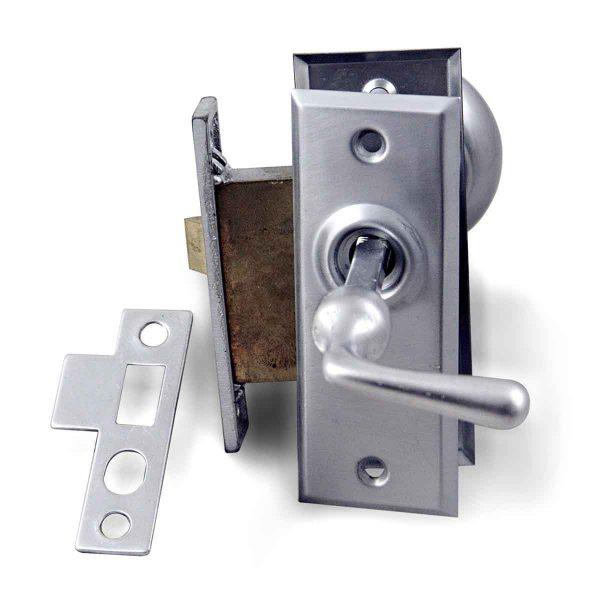 Door Knob Sets - Vintage Brushed Nickel Screen Door Brass Latch Set