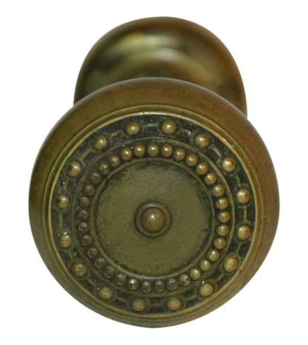 Door Knobs - Antique Cast Brass Beaded Corbin Door Knob Set