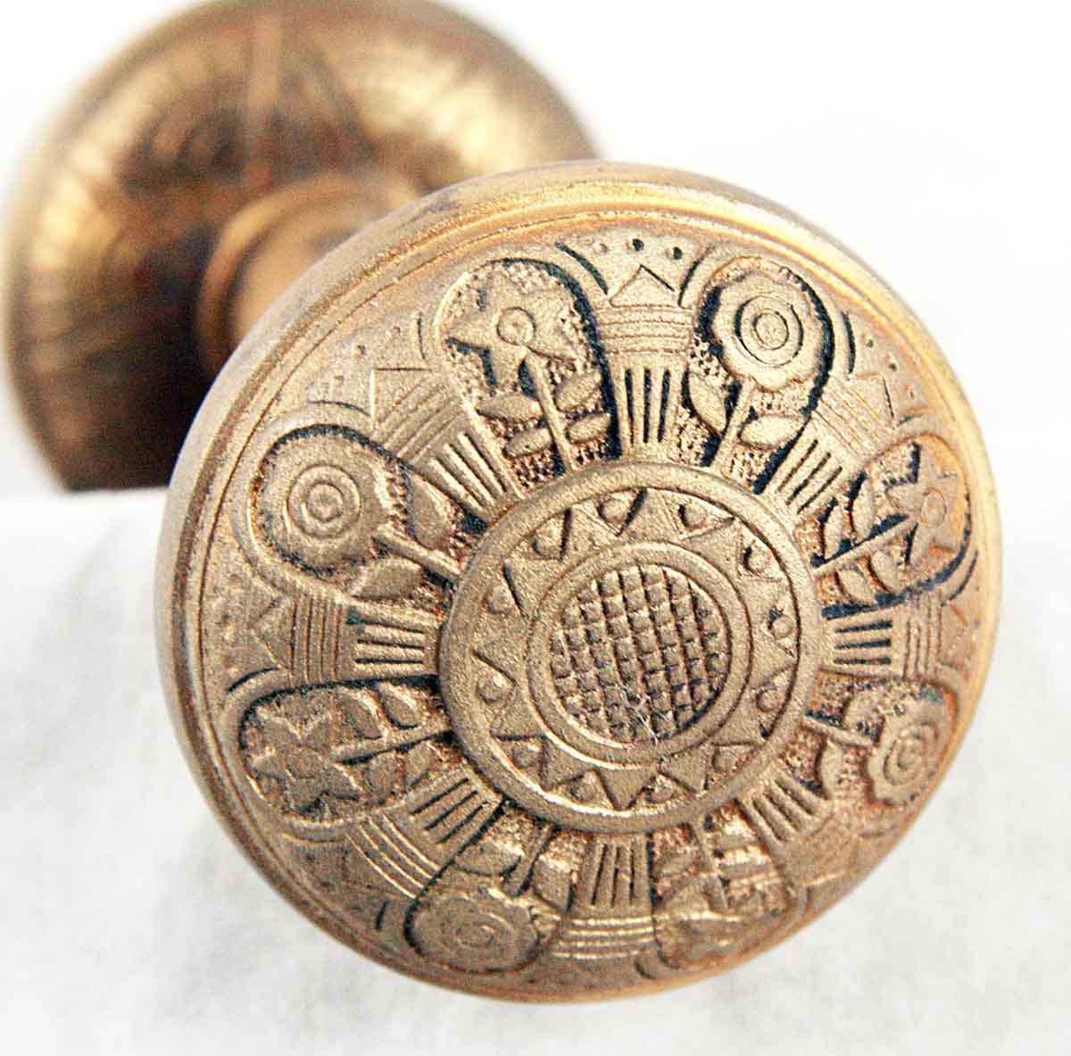Door Knobs   Antique Nashua 8 Fold Brass Door Knob Set