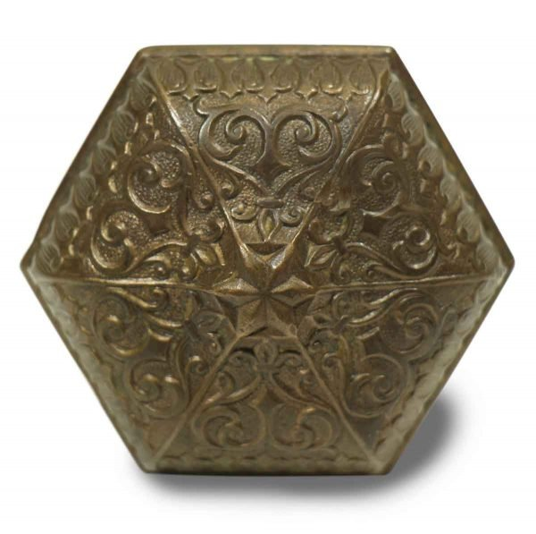 Door Knobs - Antique Russell & Erwin Ornate Hexagonal Bronze Door Knob