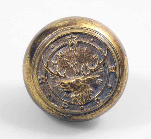 Door Knobs - Antique Sager Elk Lodge Brass Door Knob